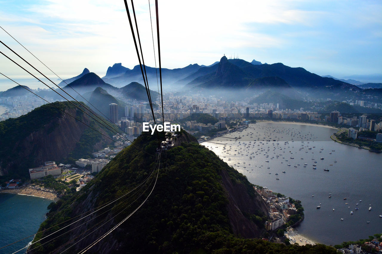Overhead Cable Cars In Mountains