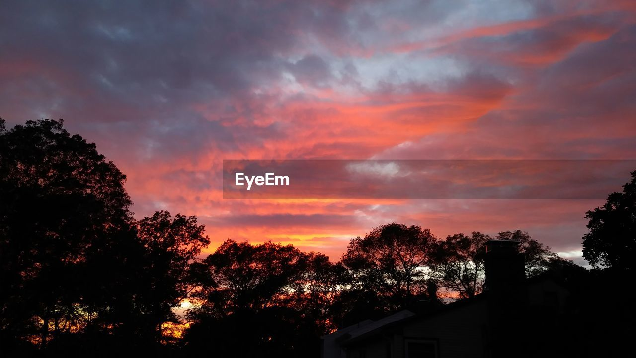 sky, cloud - sky, tree, sunset, beauty in nature, plant, orange color, scenics - nature, silhouette, nature, no people, architecture, building exterior, tranquility, built structure, idyllic, dramatic sky, tranquil scene, building, outdoors, romantic sky