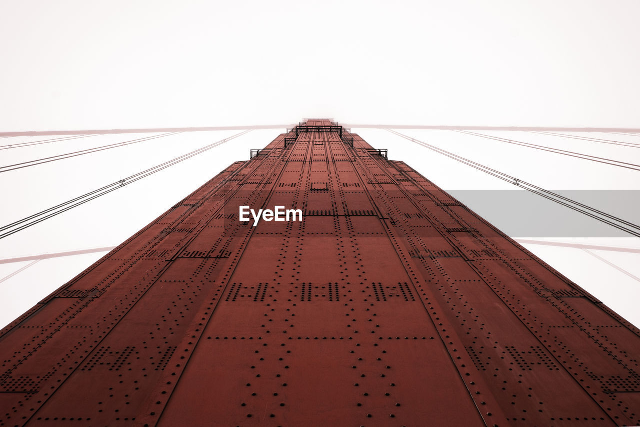 Low Angle View Of Golden Gate Bridge Against Clear Sky