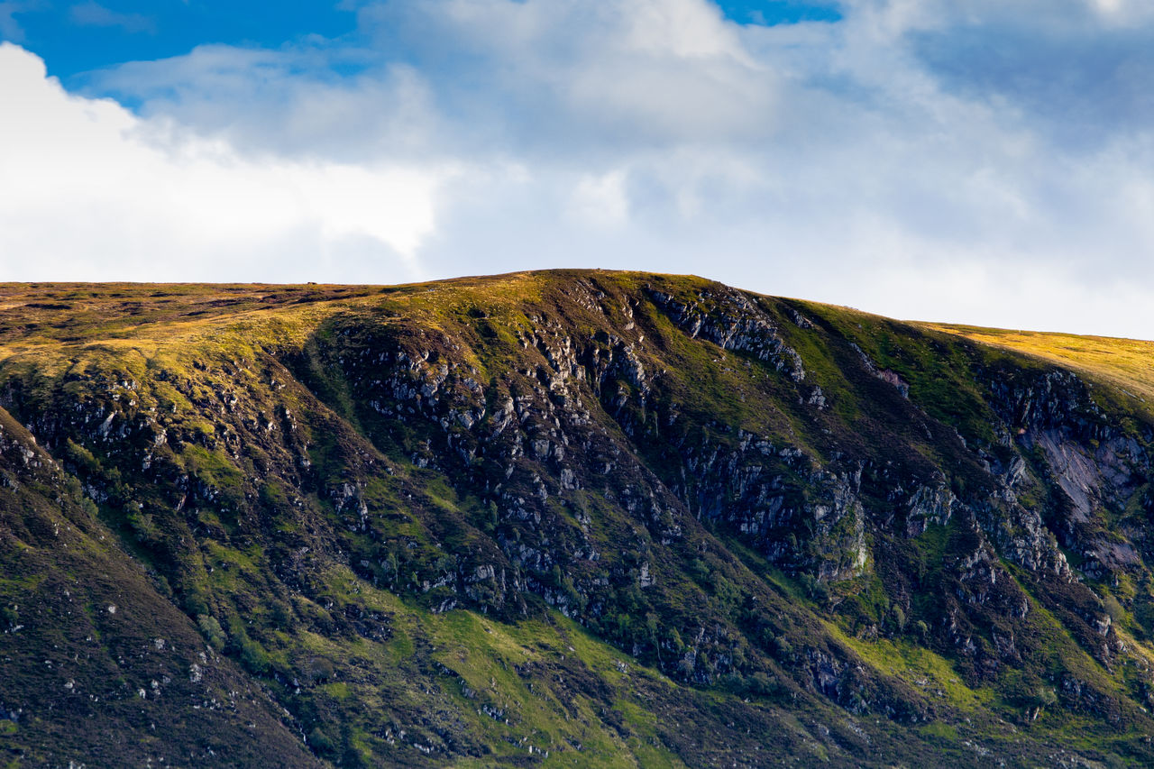 Scenic view of mountain against sky. spittal of glenmuick, scotland.