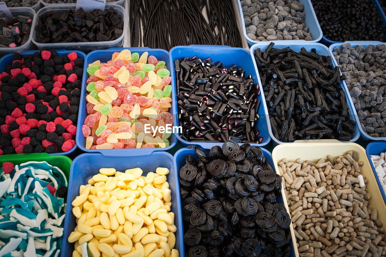 High Angle View Of Various Candies For Sale At Market
