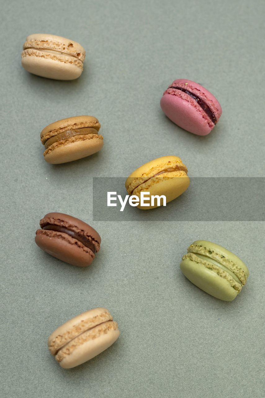 High angle view of macaroons on table