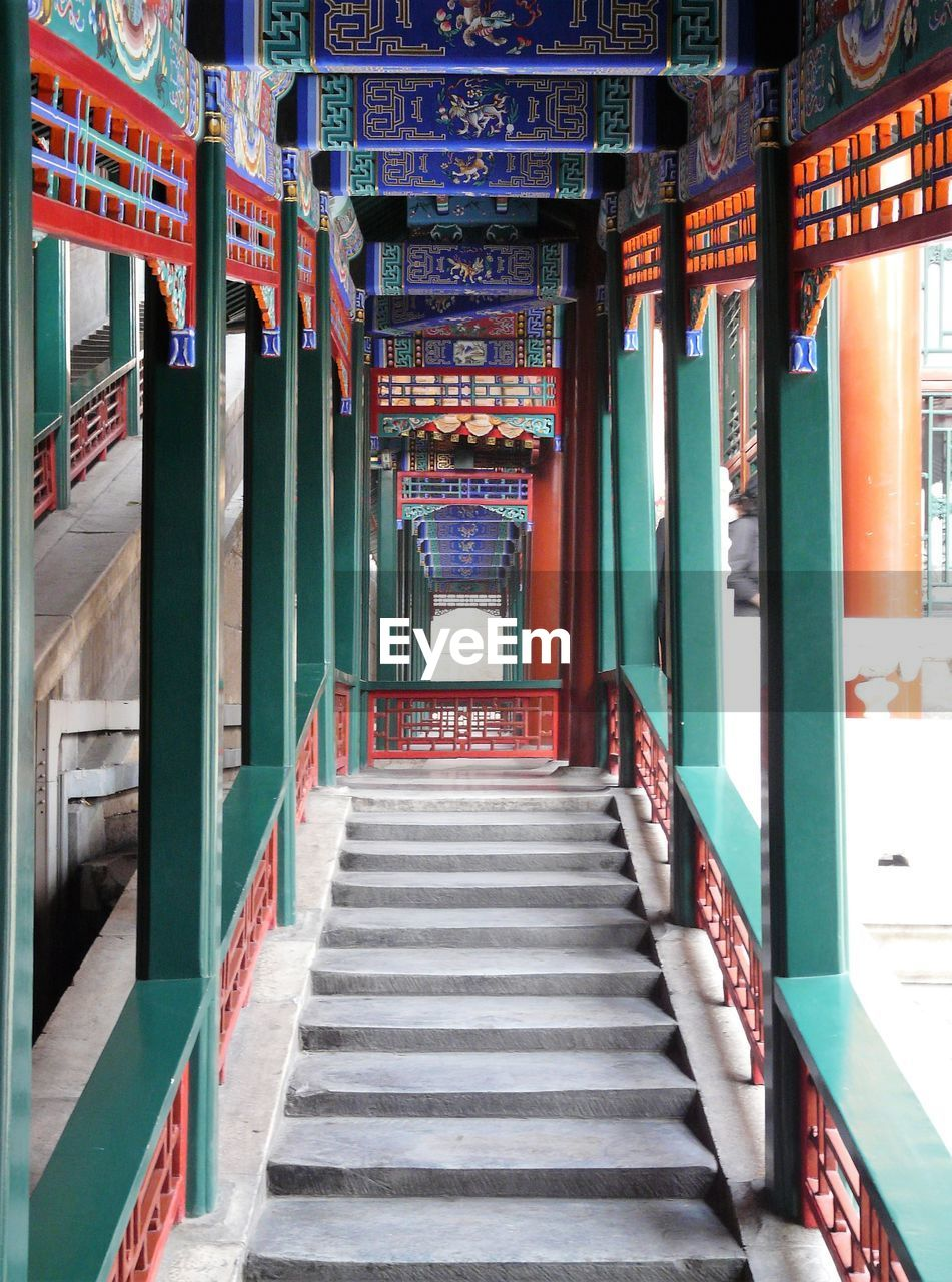 Perspective infinite corridor and stair in the summer palace, beijing
