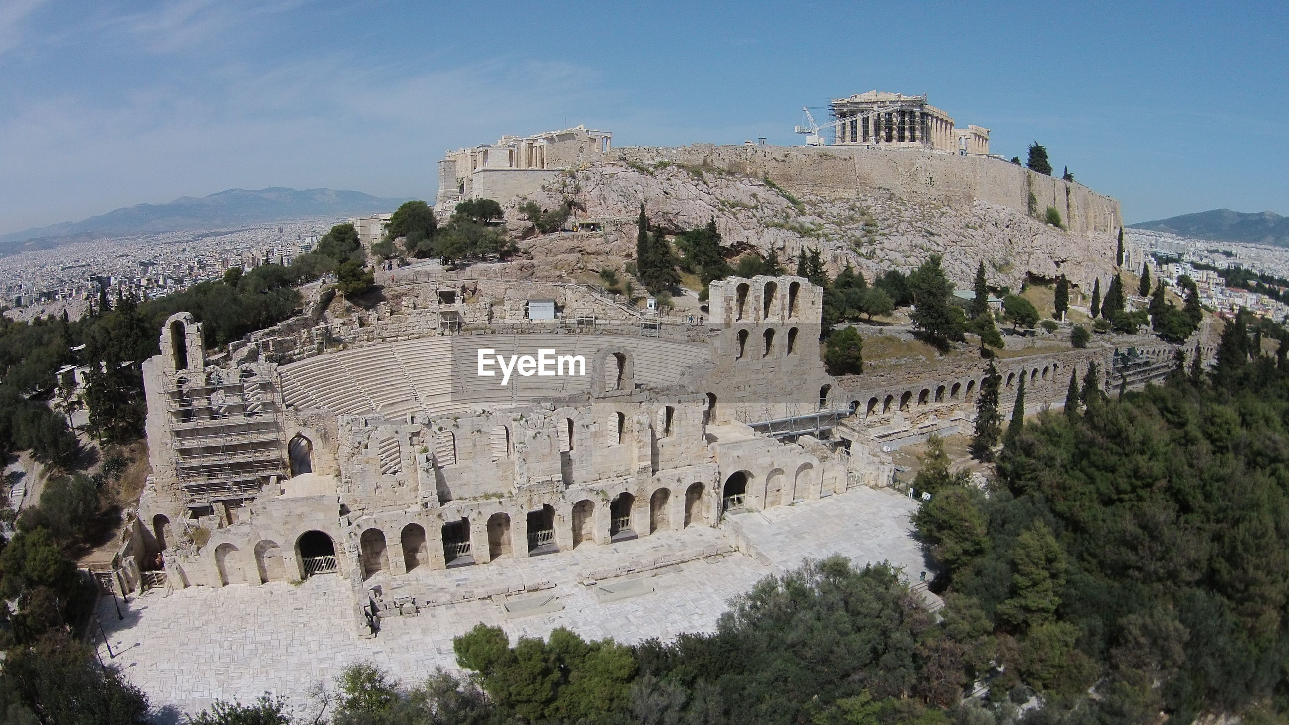 High angle of town with abandoned amphitheater in foreground