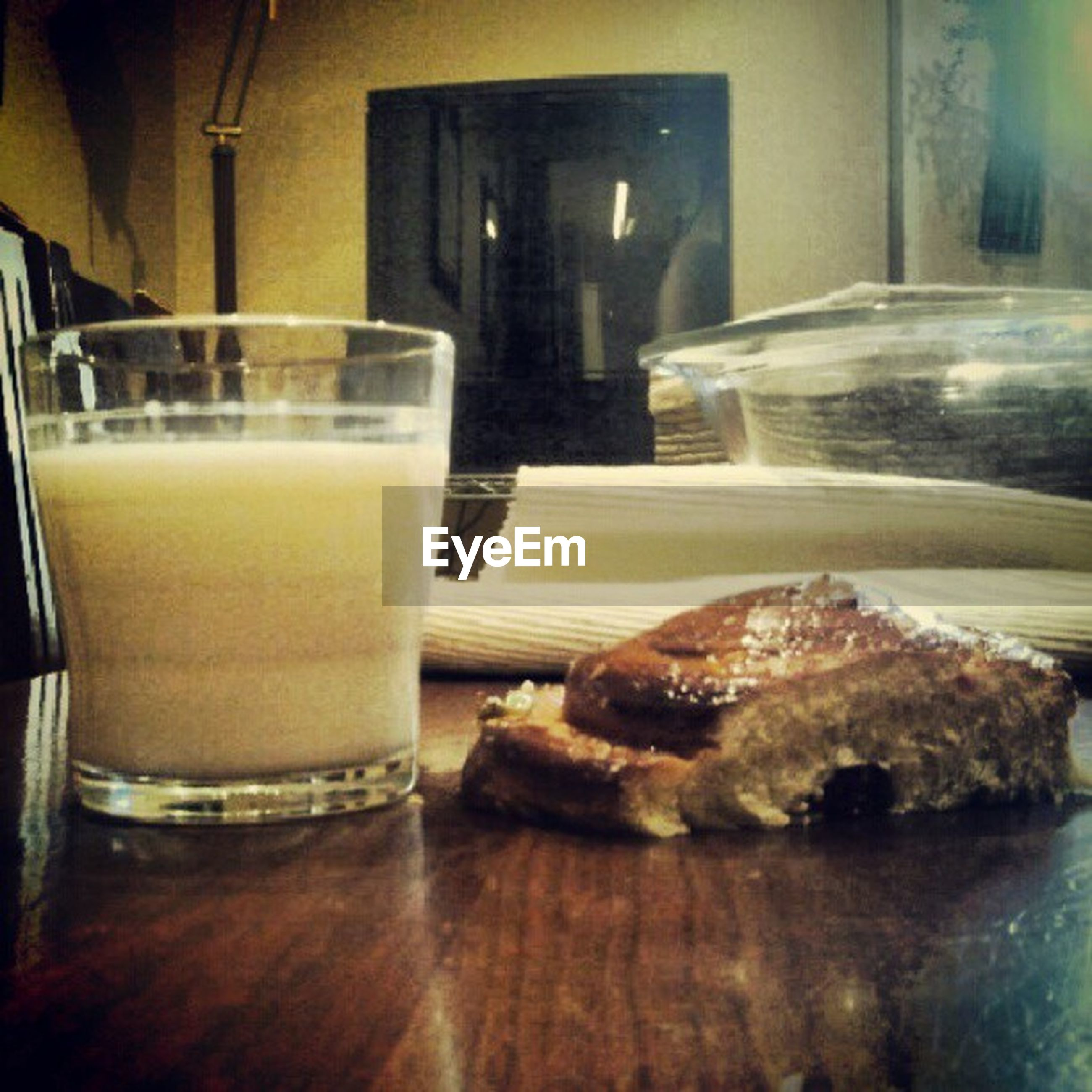 food and drink, indoors, freshness, food, drink, table, refreshment, ready-to-eat, still life, close-up, unhealthy eating, sweet food, bread, indulgence, glass - material, drinking glass, plate, focus on foreground, breakfast, dessert