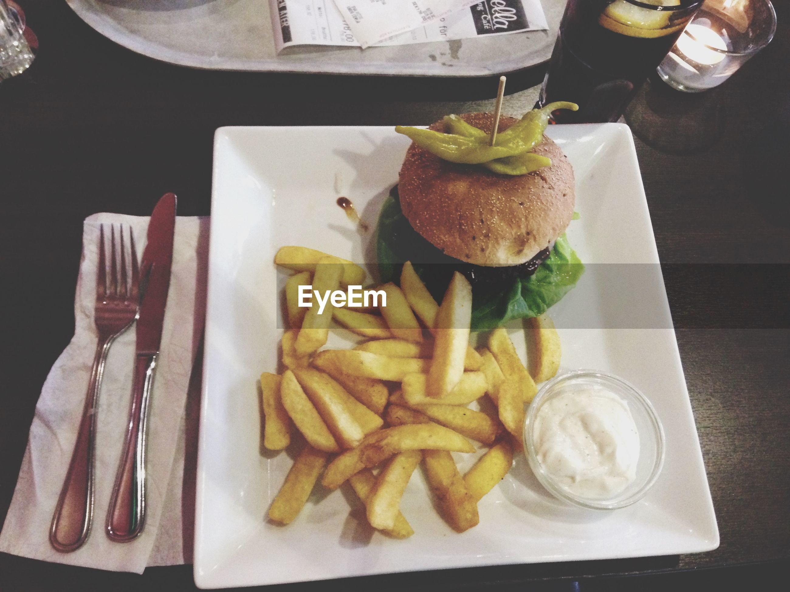 food and drink, food, freshness, indoors, plate, table, ready-to-eat, healthy eating, still life, serving size, fork, meal, high angle view, french fries, bread, indulgence, slice, meat, served, restaurant