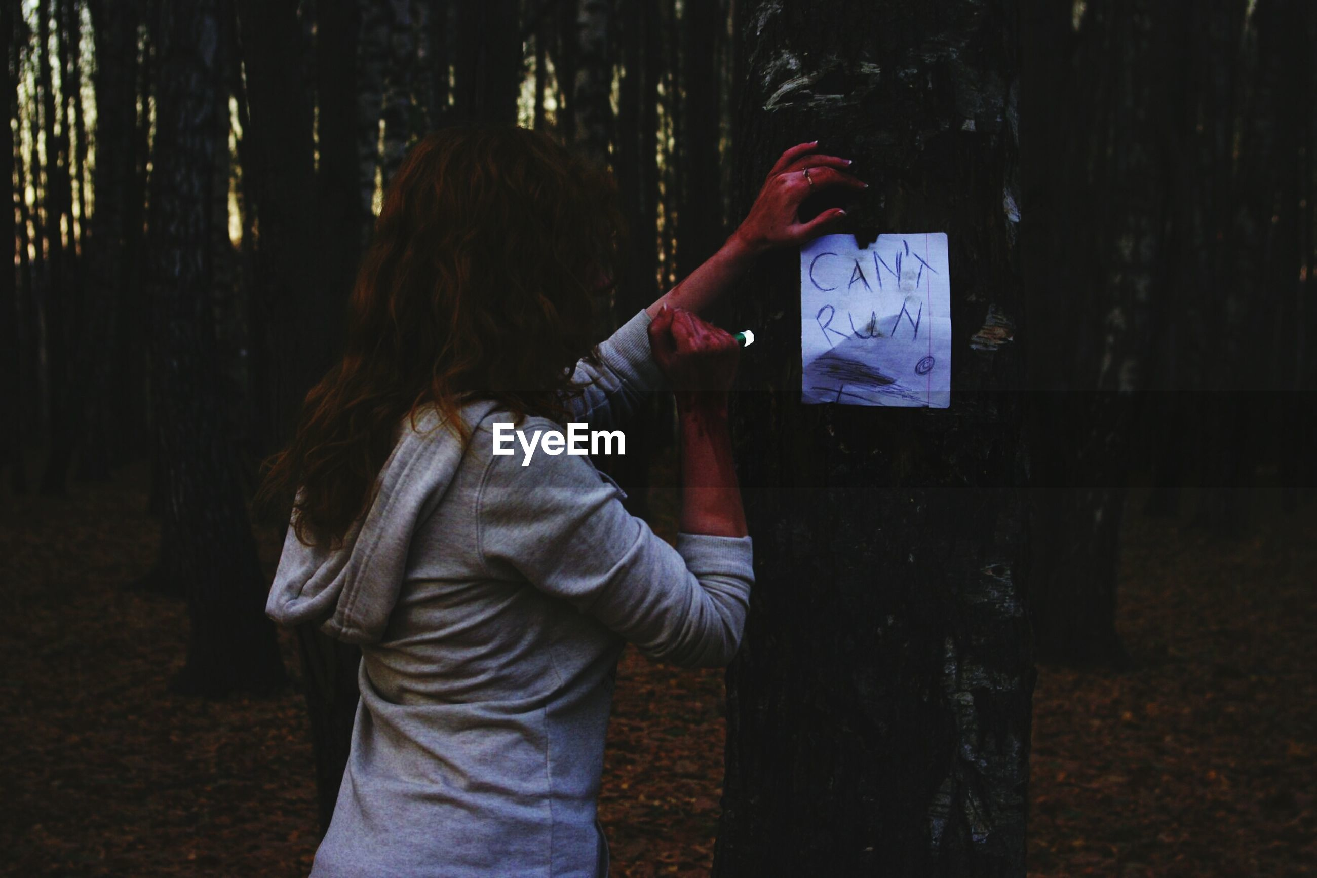 lifestyles, leisure activity, standing, rear view, holding, communication, casual clothing, men, wood - material, night, outdoors, three quarter length, tree, waist up, text, unrecognizable person, field