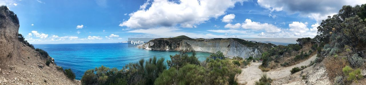 sky, scenics - nature, beauty in nature, water, cloud - sky, tranquil scene, tranquility, sea, panoramic, nature, land, non-urban scene, idyllic, plant, day, no people, mountain, beach, blue, horizon over water, outdoors