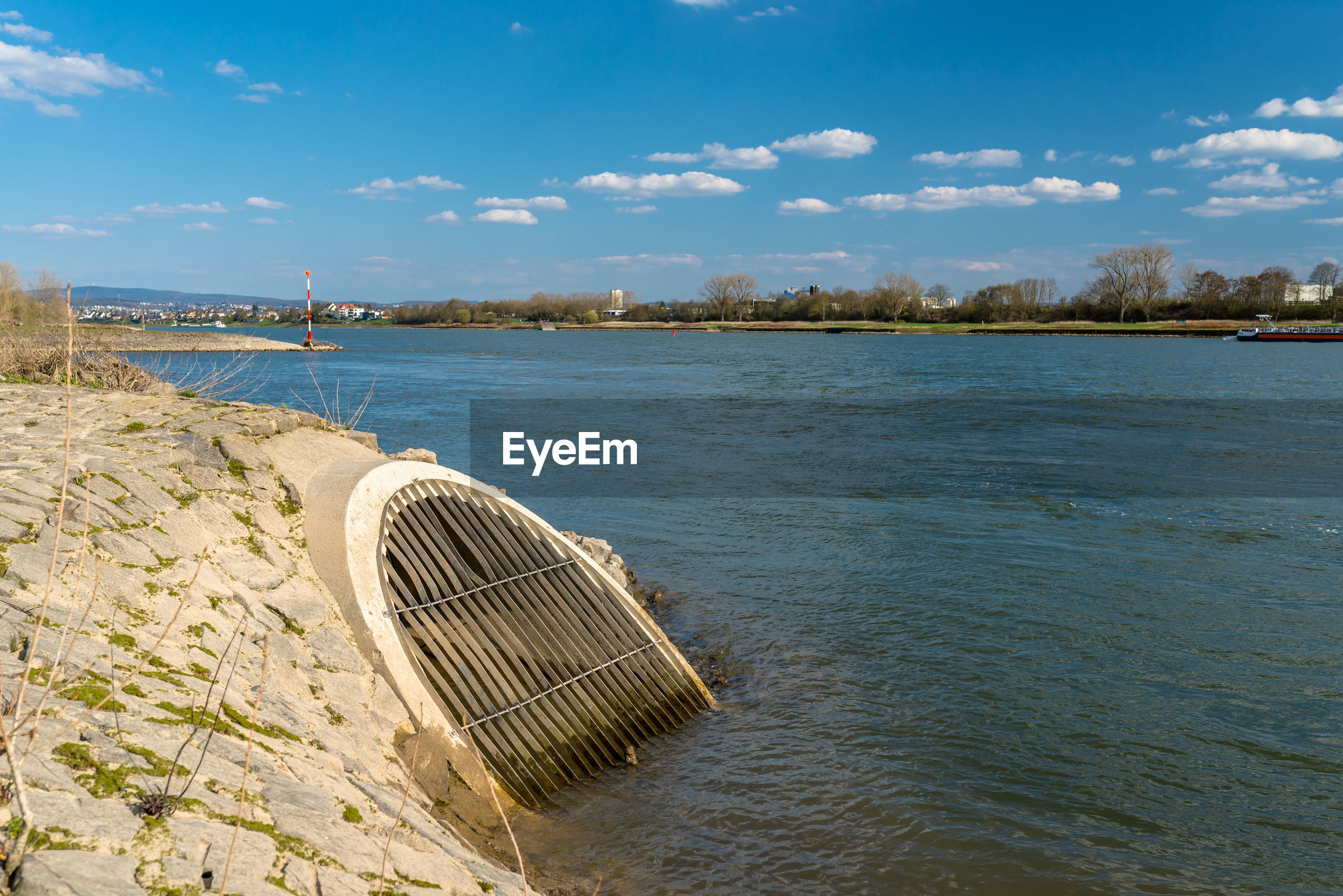 An oblique sewer that flows into the rhine river in western germany.