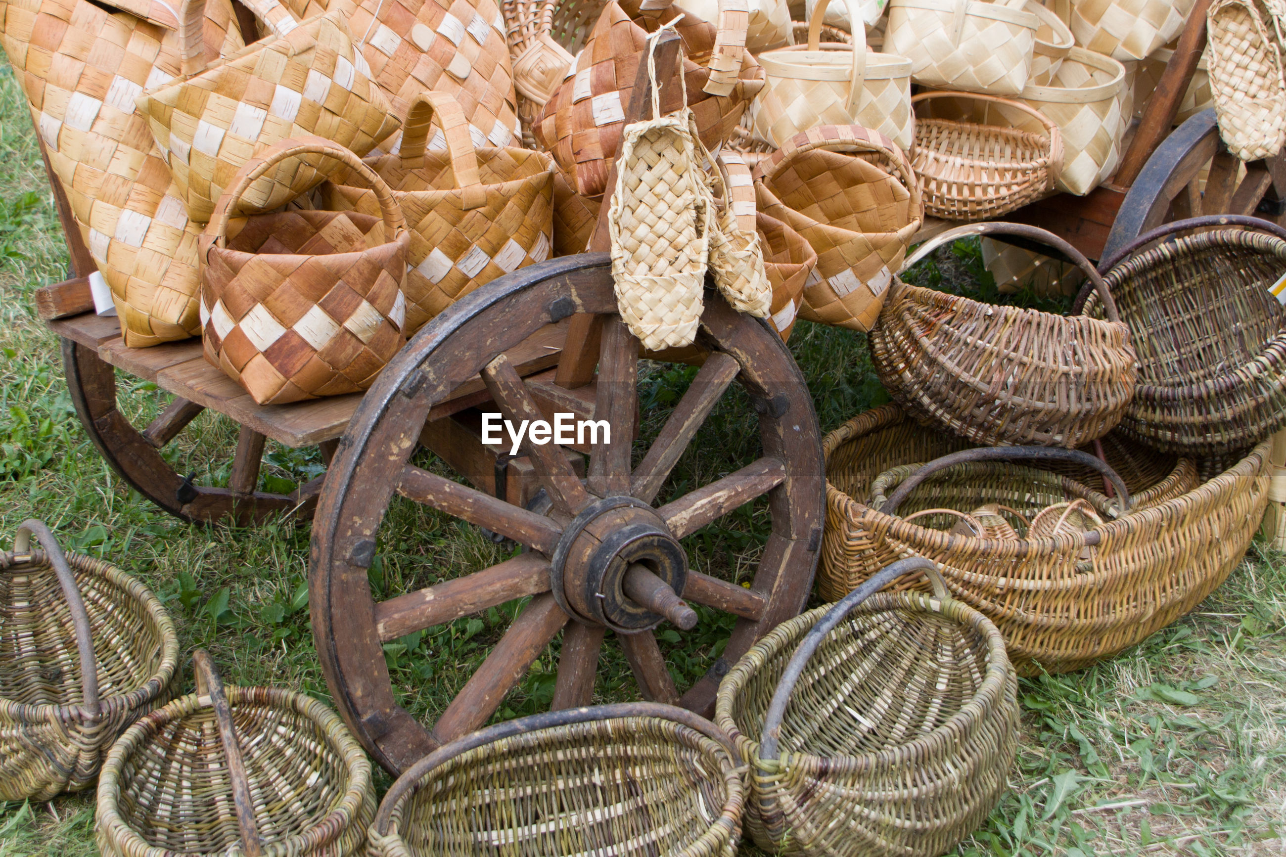High angle view of wicker baskets for sale at market