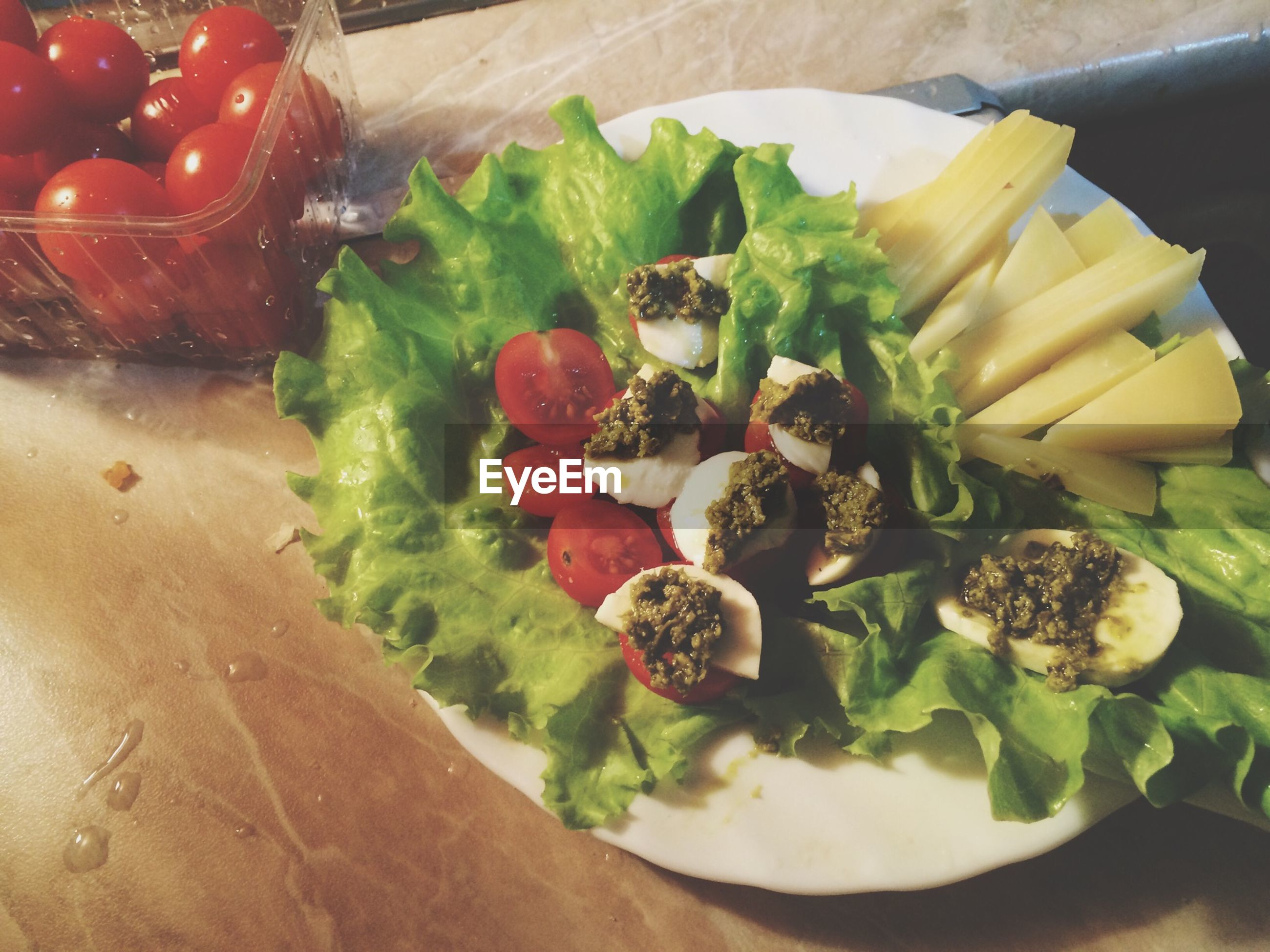 food and drink, food, freshness, healthy eating, indoors, ready-to-eat, still life, vegetable, plate, table, close-up, high angle view, serving size, salad, bowl, meal, slice, indulgence, tomato, no people