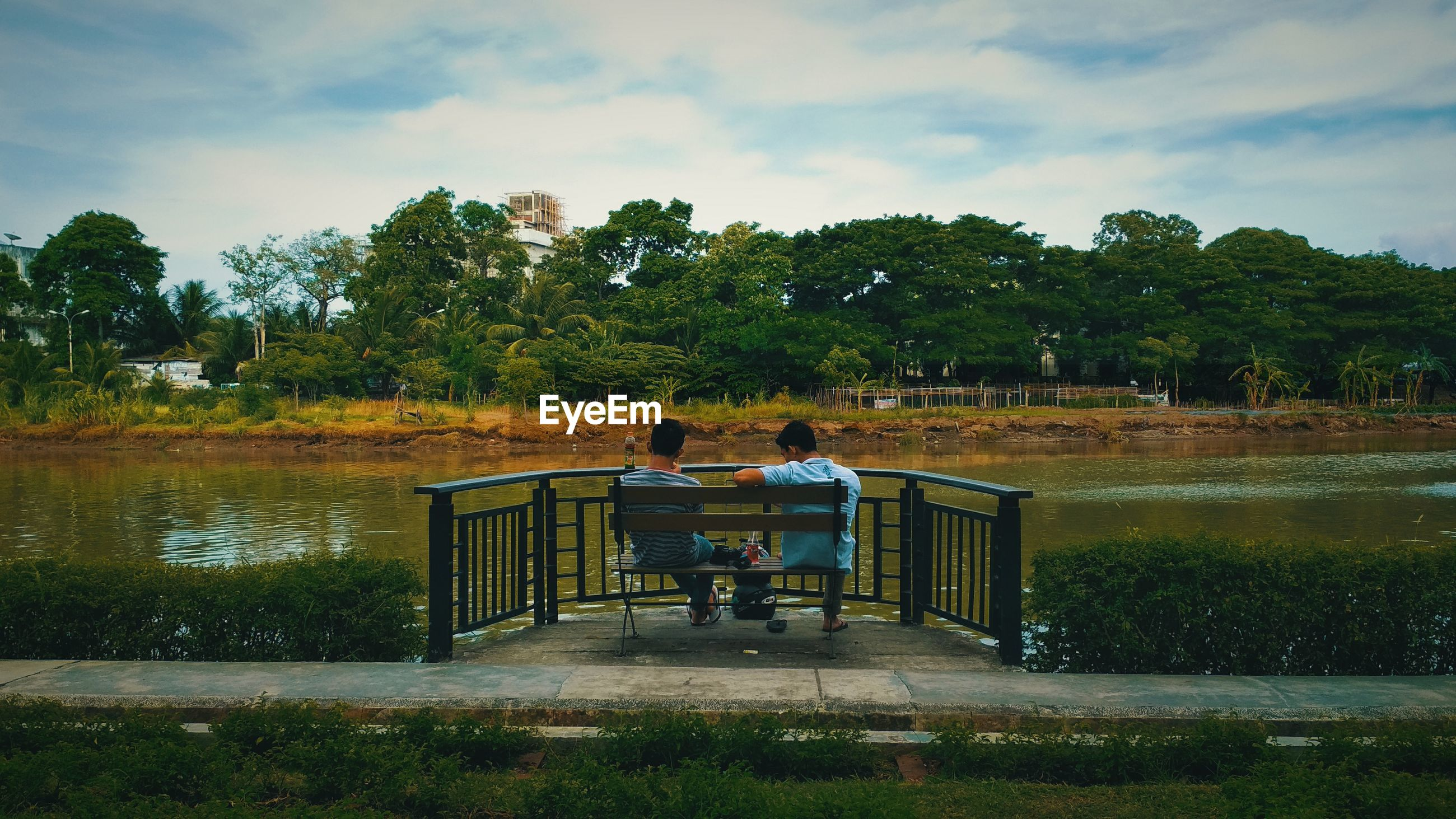 Rear view of friends sitting on bench by lake