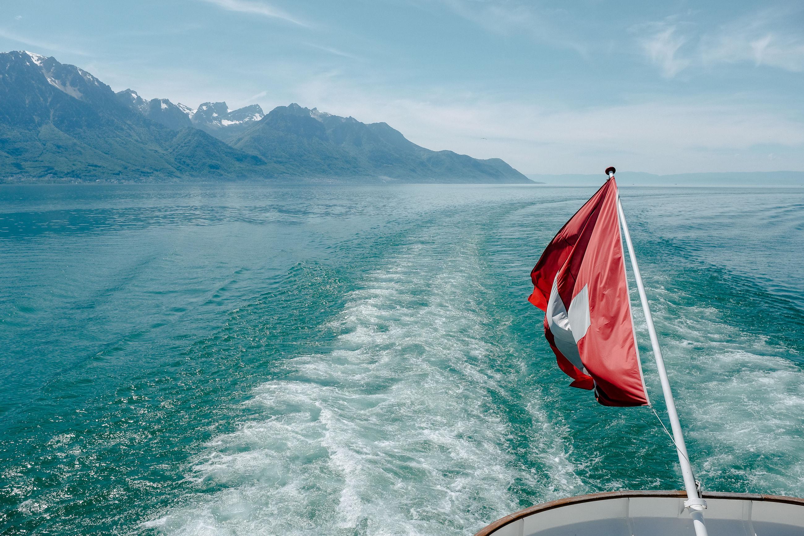 FLAG ON SEA AGAINST SKY