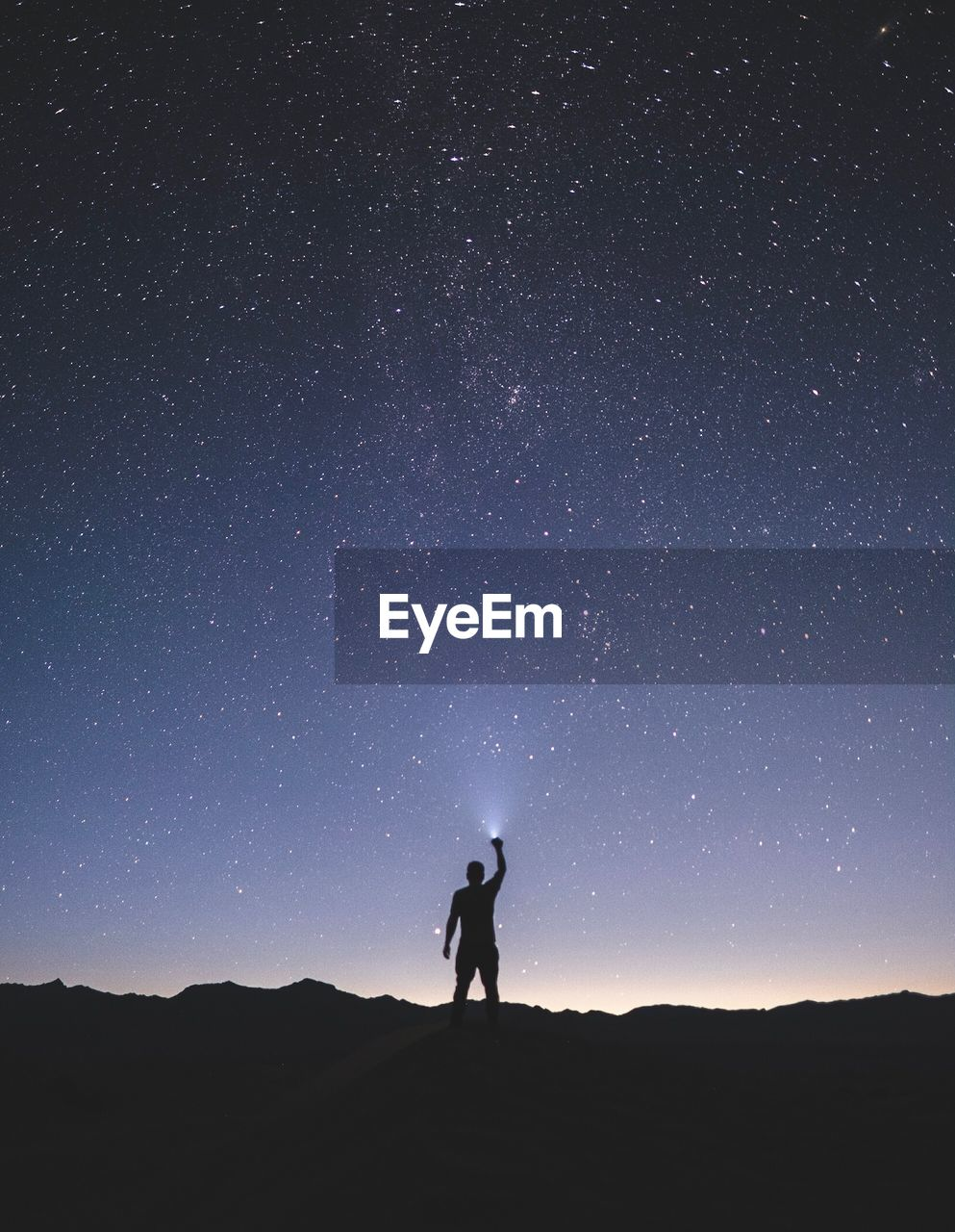 sky, star - space, silhouette, night, standing, astronomy, scenics - nature, space, beauty in nature, one person, nature, leisure activity, land, star, galaxy, men, full length, star field, real people, milky way, arms raised