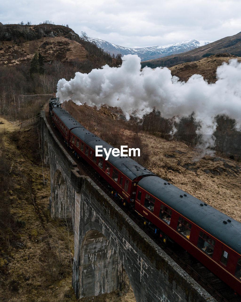 Smoke emitting from steam train