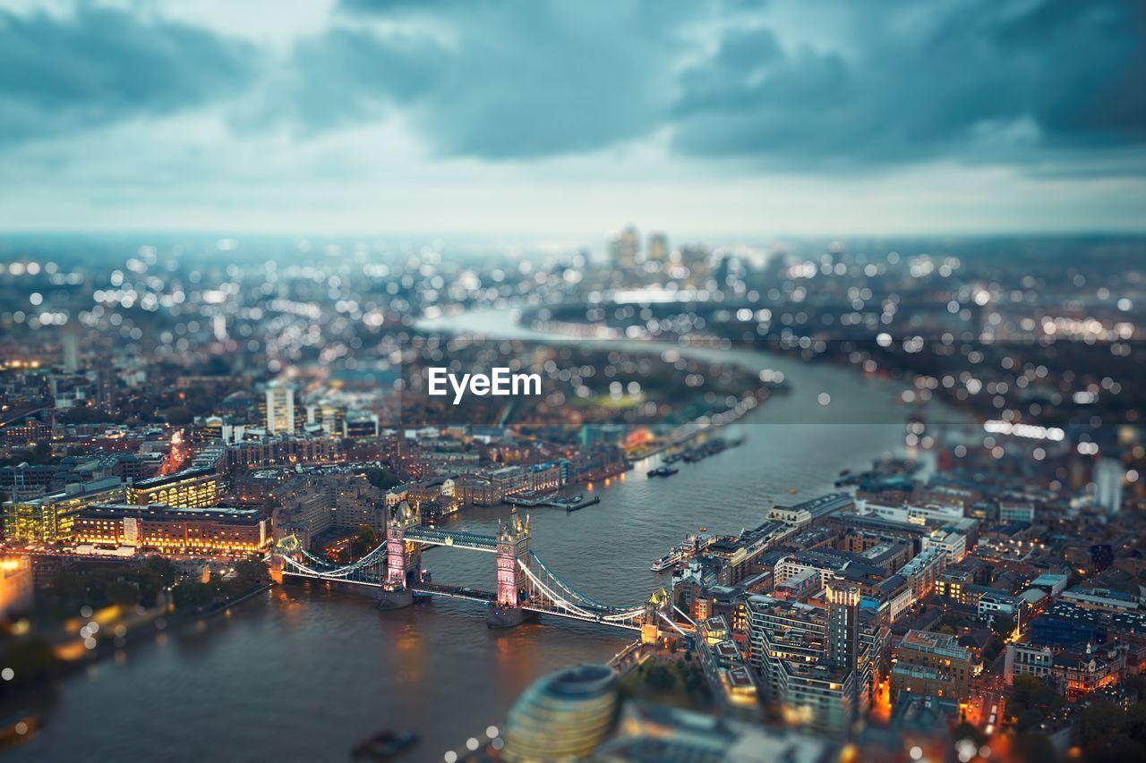 High Angle View Of Illuminated London Cityscape
