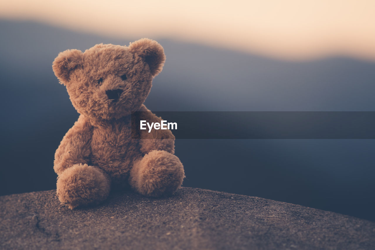 Close-Up Of Stuffed Toy On Rock Against Sky At Dusk