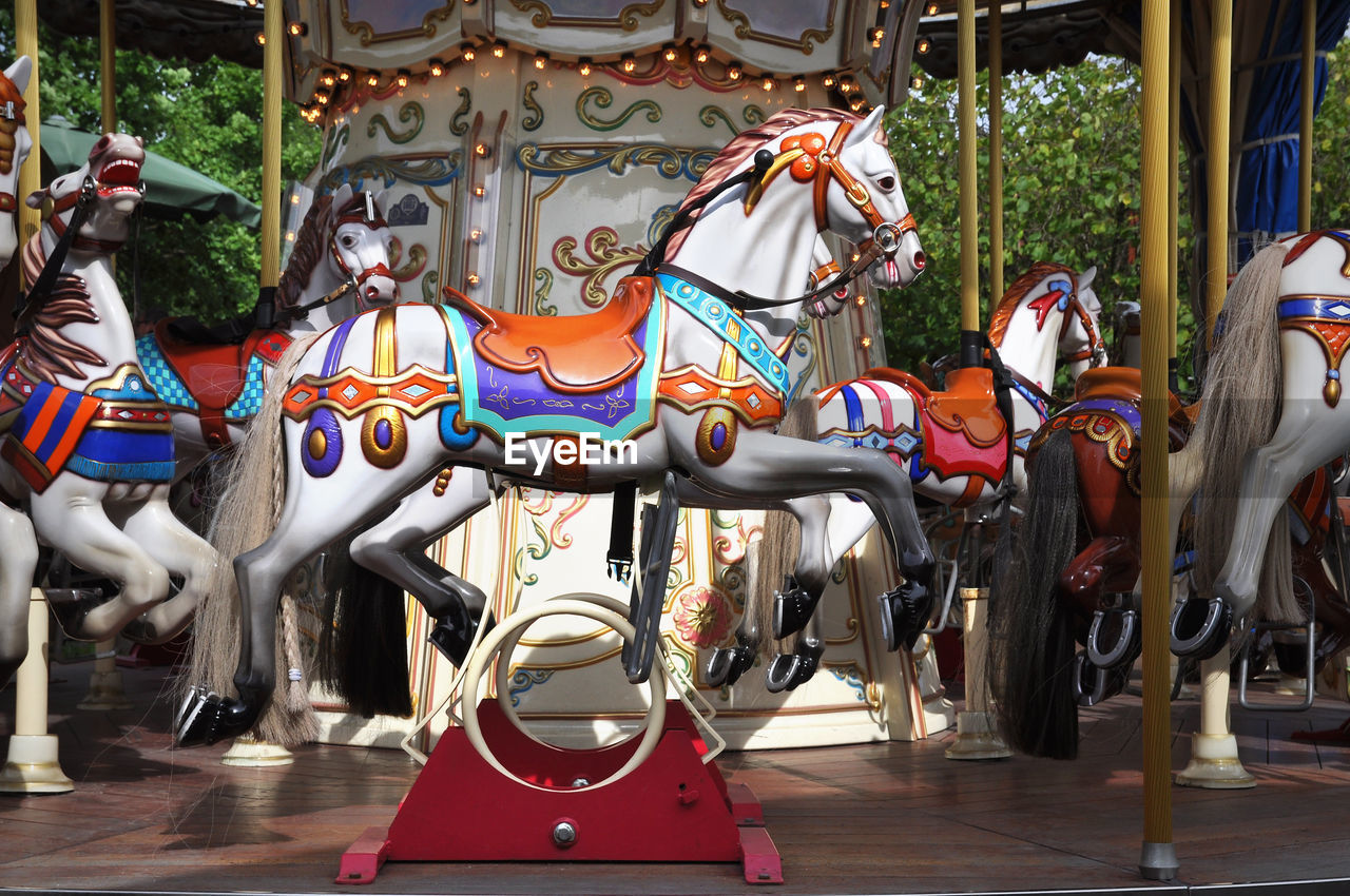 amusement park, amusement park ride, carousel, animal representation, representation, arts culture and entertainment, carousel horses, childhood, leisure activity, enjoyment, absence, horse, multi colored, day, mammal, outdoors, domestic animals, livestock, merry-go-round, outdoor play equipment, fairground