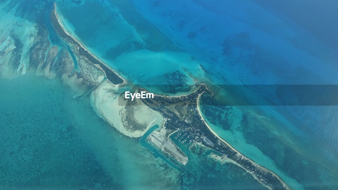 Aerial View Of Cat Cays In Sea