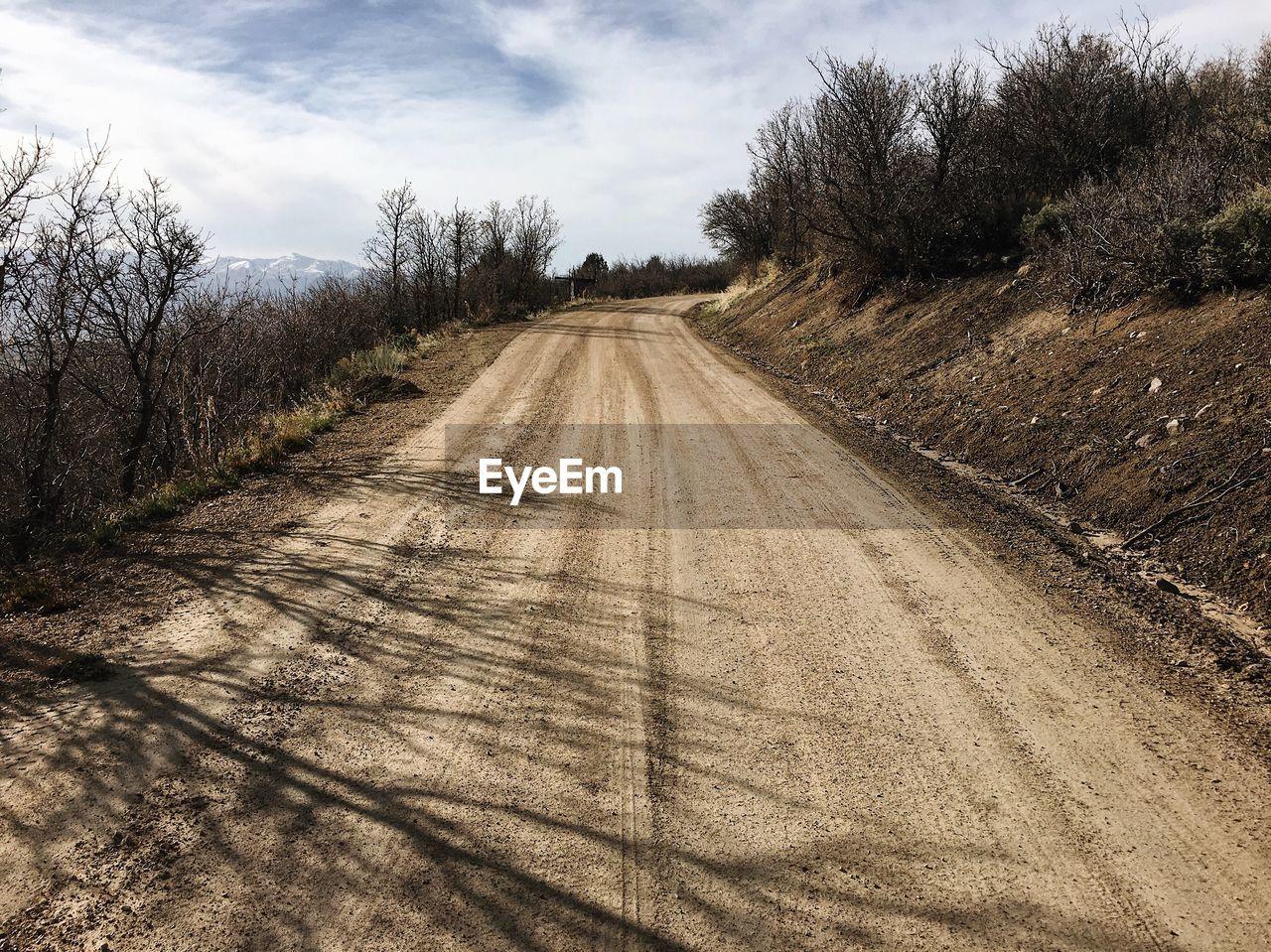 Empty Road Along Countryside Landscape