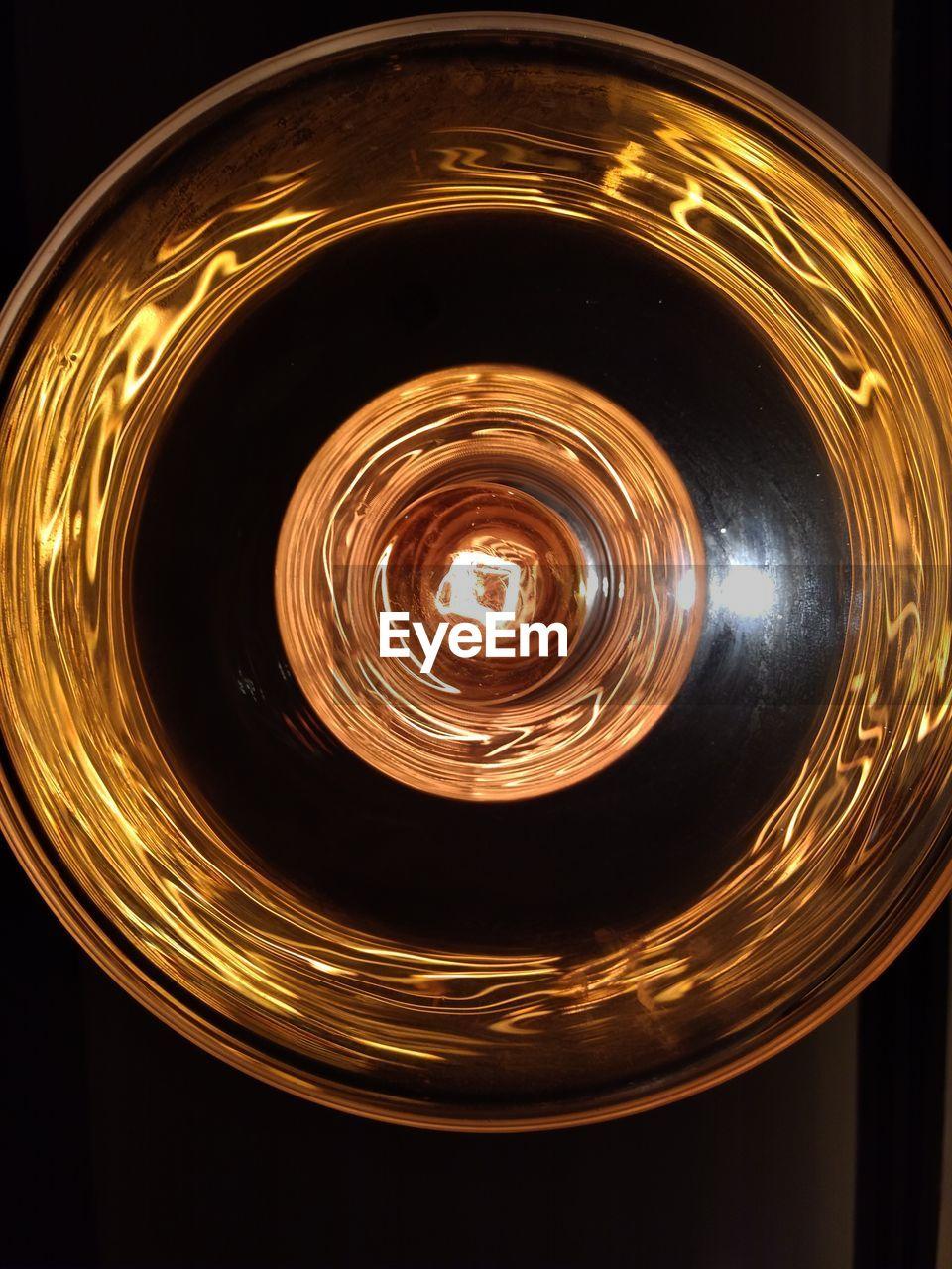 circle, illuminated, no people, indoors, night, long exposure, close-up, black background