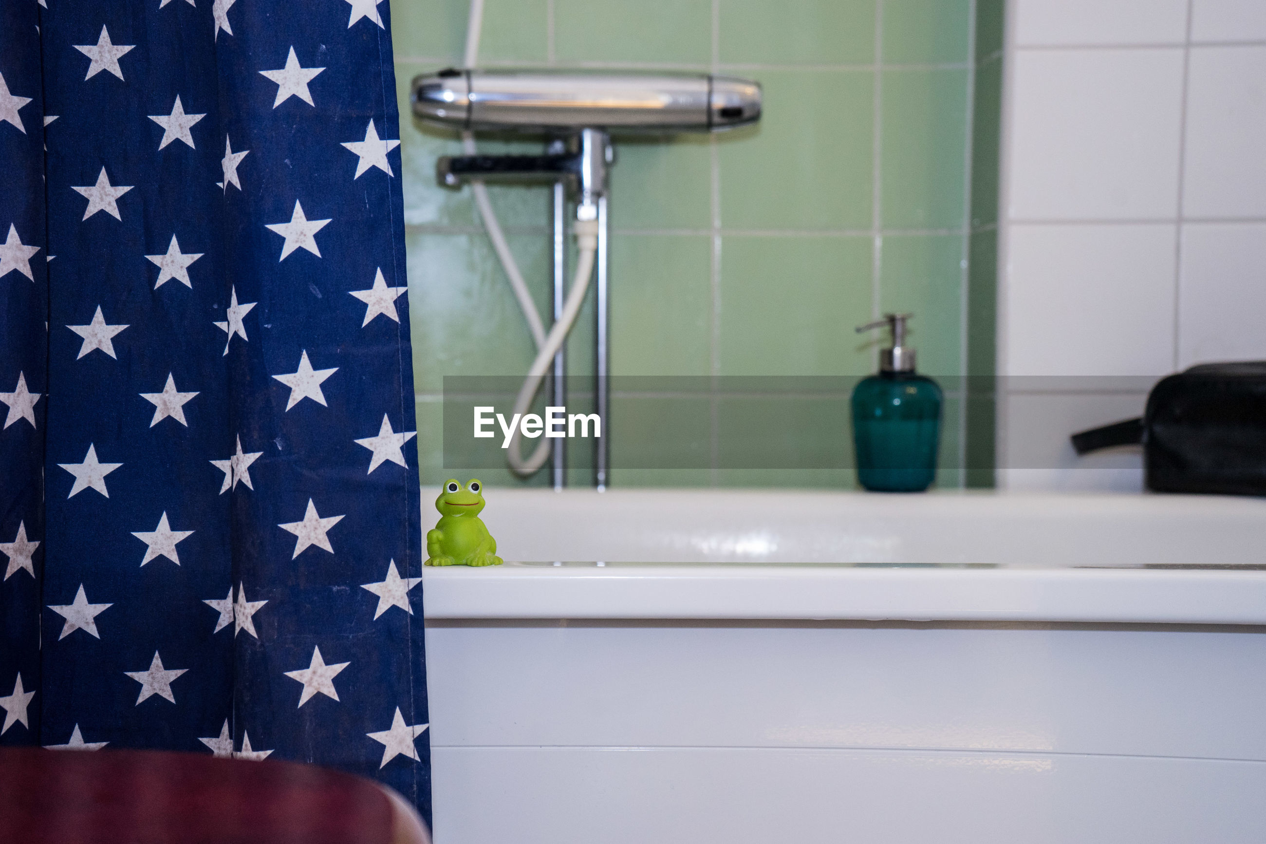 blue, patriotism, indoors, bathroom, close-up, no people, day
