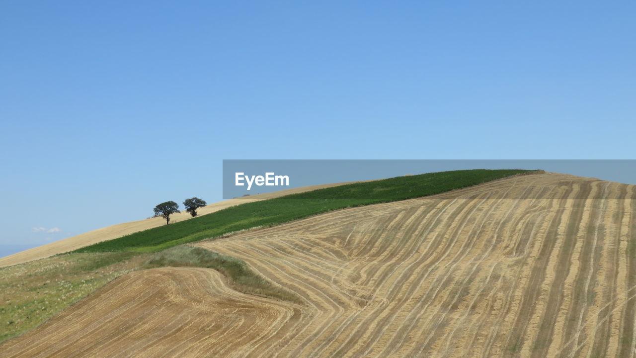 Plowed Farm Against Sky