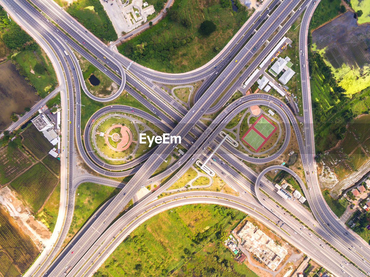 Aerial View Of Traffic Circle In Thailand