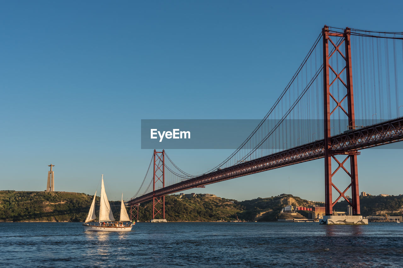 Sailboat Sailing In Tagus River By 25 De Abril Bridge Against Clear Blue Sky