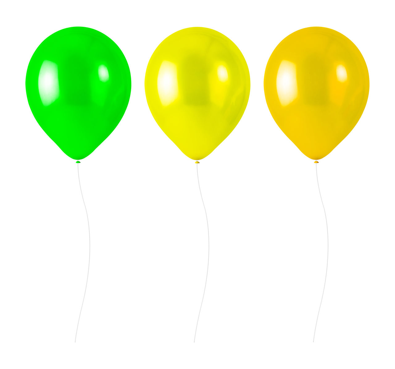 balloon, white background, helium balloon, studio shot, cut out, indoors, celebration, multi colored, green color, helium, string, no people, mid-air, yellow, group of objects, decoration, design, shape, ribbon, party - social event, purple