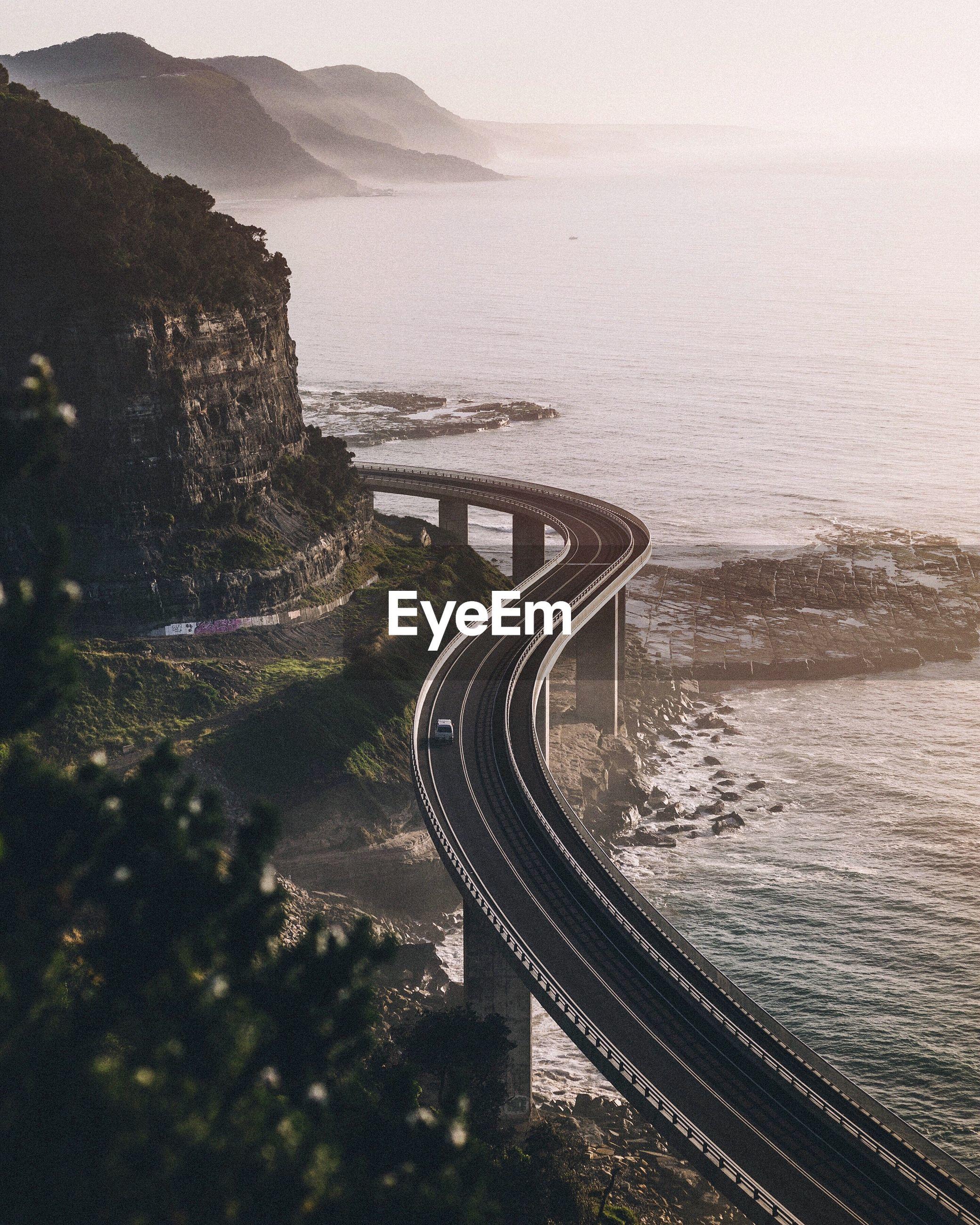 High angle view of coastal bridge in australia