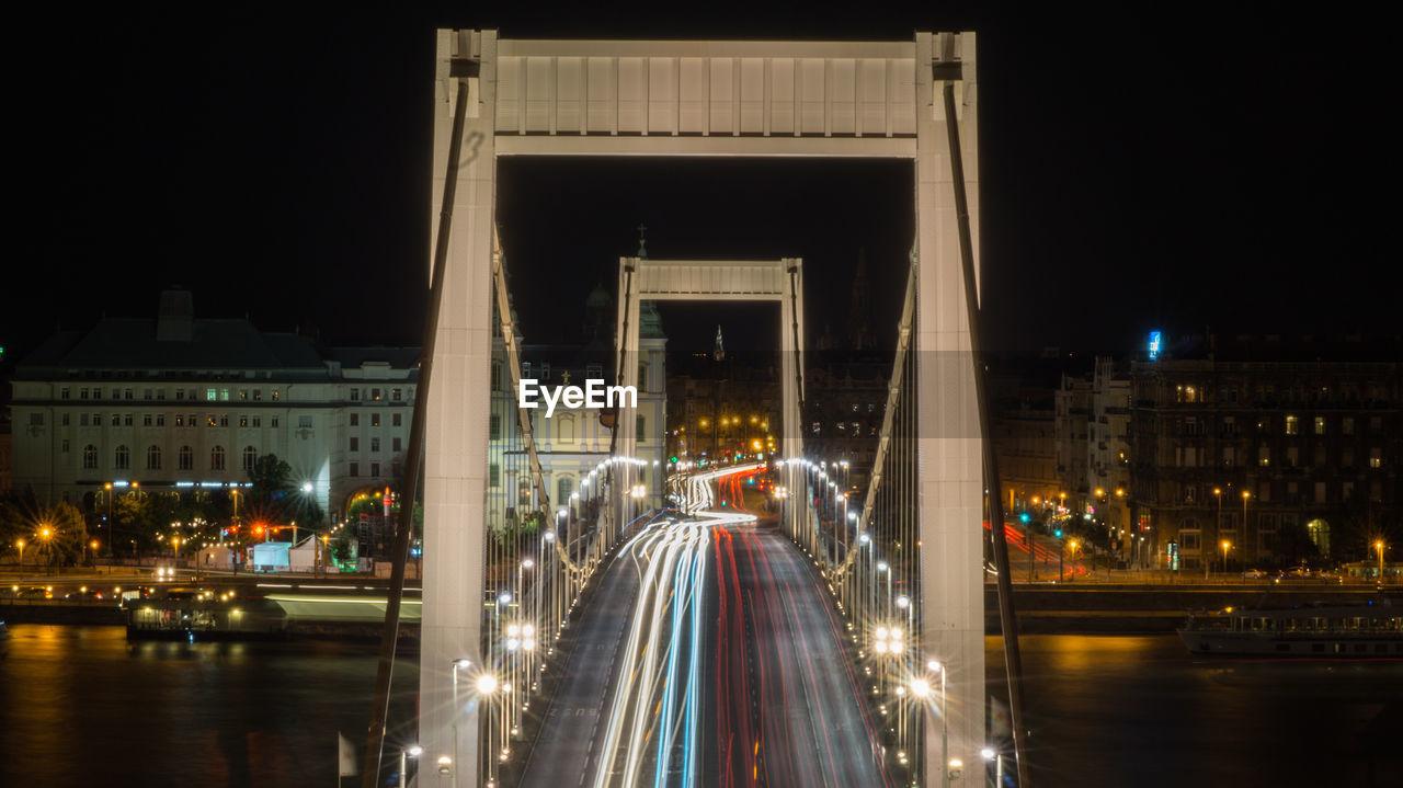 High Angle View Of Illuminated Elisabeth Bridge During Night