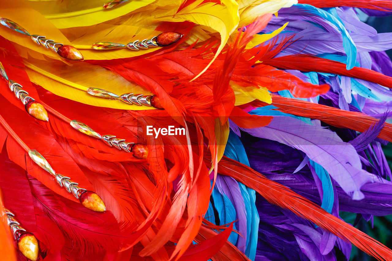 Full frame shot of colorful feathers for sale at market