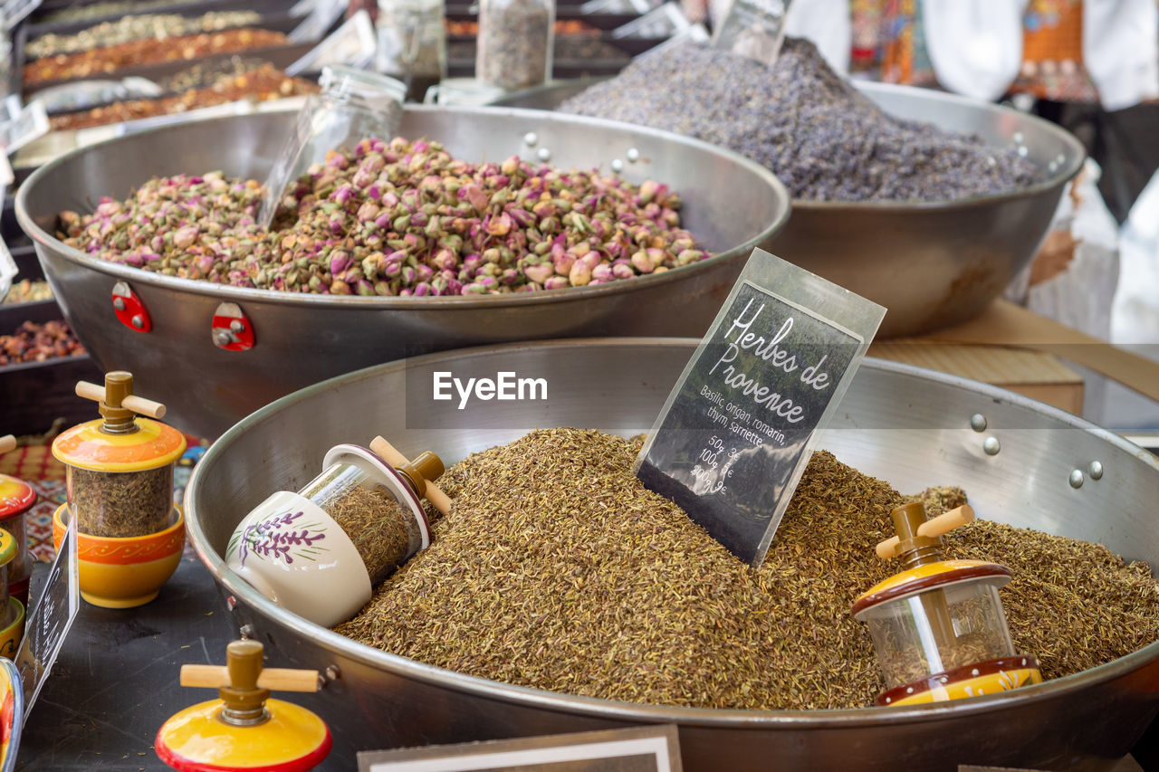 food and drink, food, spice, variation, market, container, for sale, retail, choice, still life, indoors, large group of objects, close-up, market stall, text, ingredient, freshness, no people, retail display, abundance, sale