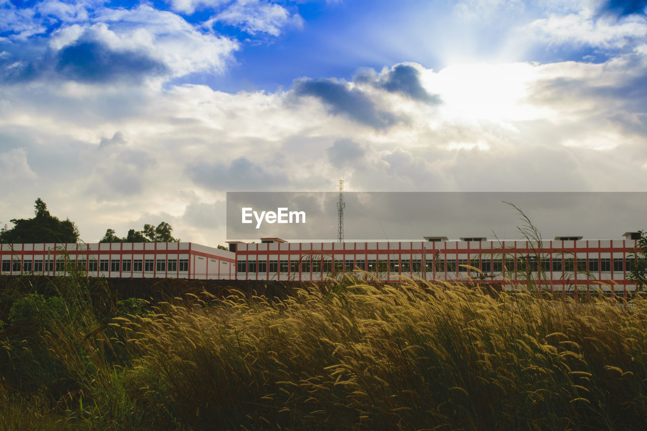 sky, cloud - sky, architecture, built structure, transportation, outdoors, no people, nature, growth, day, grass, tree