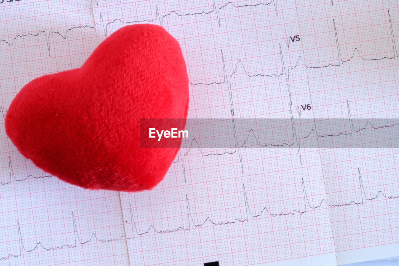 paper, close-up, red, indoors, no people, pulse trace, heart shape, emotion, diagram, document, positive emotion, graph, business, love, grid, science, high angle view, art and craft, message