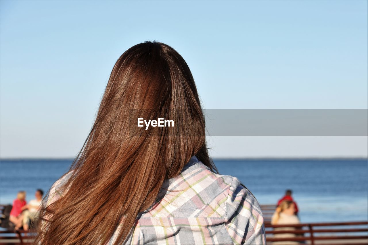 Rear view of woman with brown hair against sea