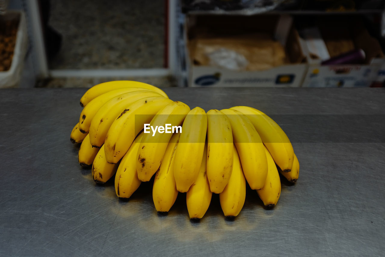 Close-up of bananas on table