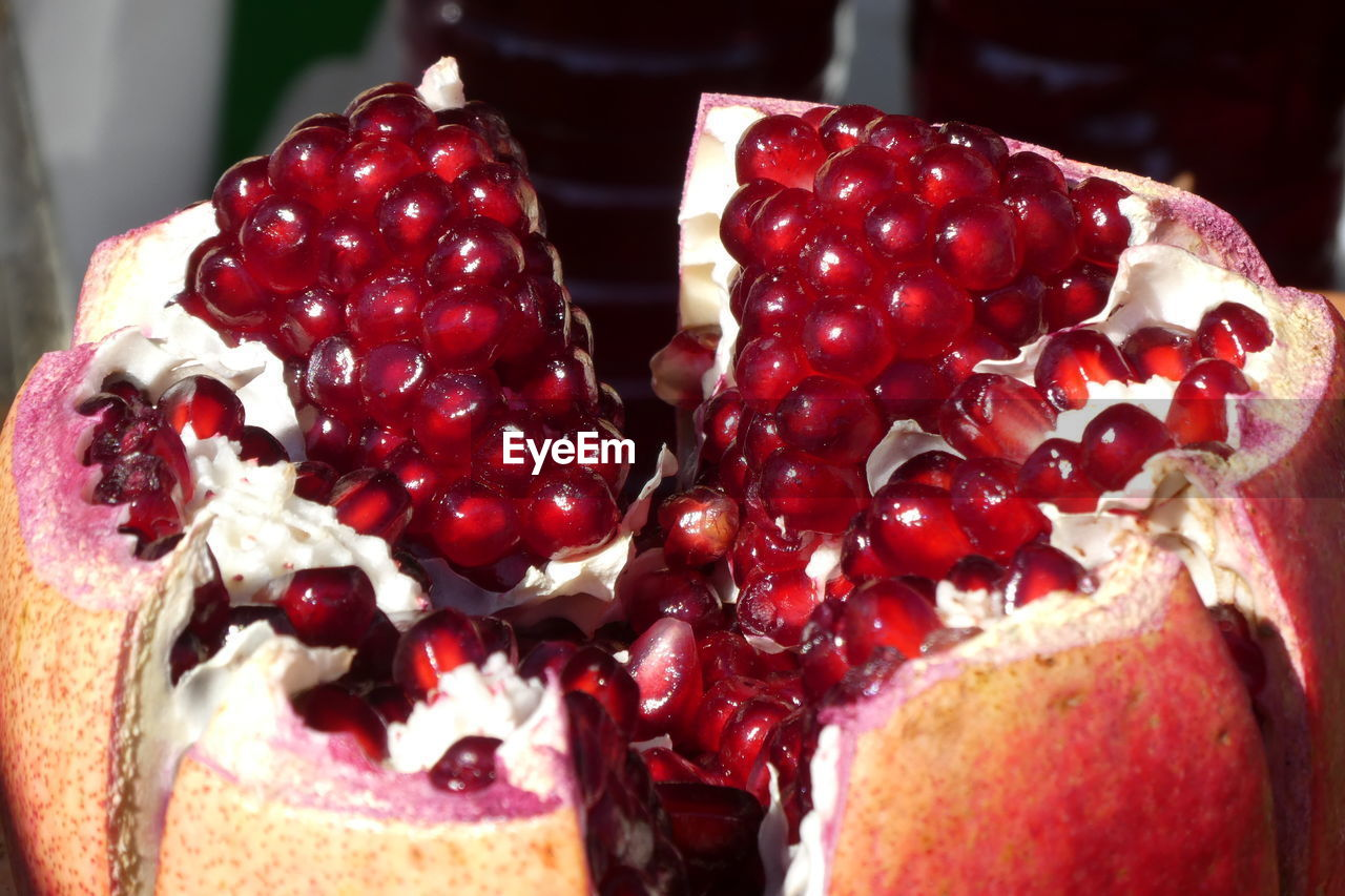 food and drink, food, freshness, fruit, red, healthy eating, sweet food, close-up, still life, dessert, sweet, focus on foreground, indoors, no people, berry fruit, ready-to-eat, wellbeing, pomegranate, indulgence, temptation
