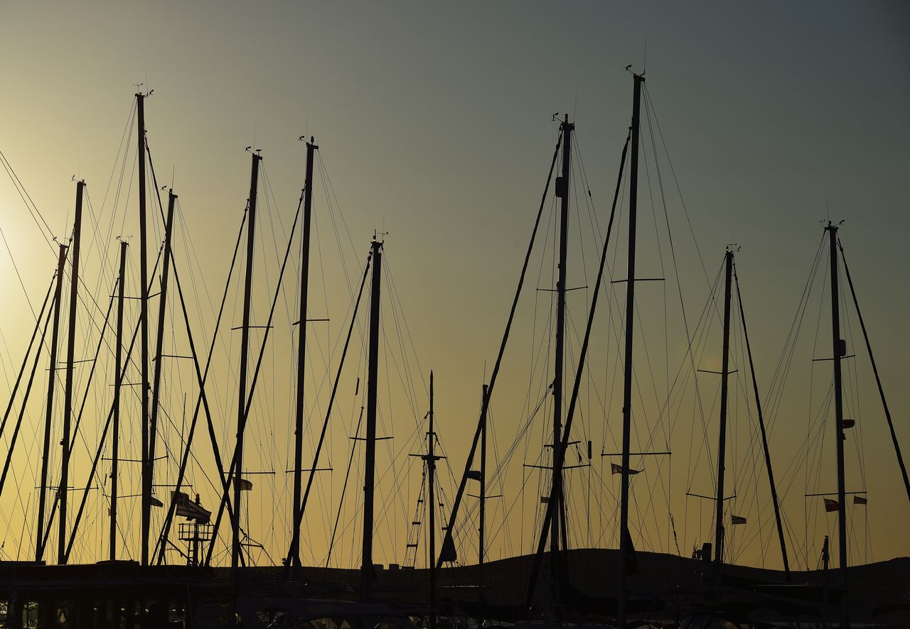 sailboat, sky, mast, pole, nautical vessel, transportation, no people, harbor, water, mode of transportation, nature, sunset, silhouette, moored, outdoors, beauty in nature, sea, architecture, day, yacht, marina