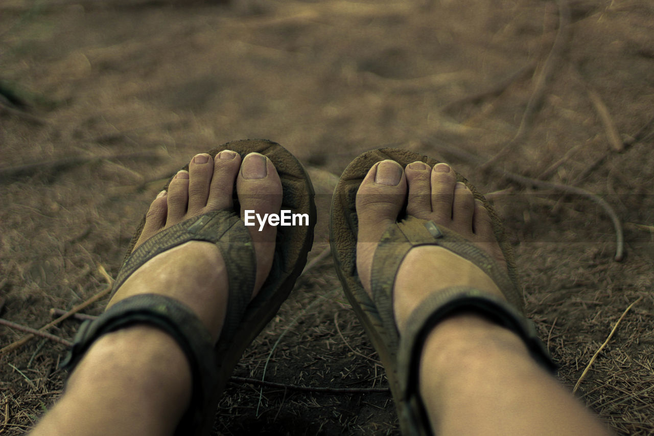 real people, body part, human body part, one person, human leg, low section, leisure activity, personal perspective, lifestyles, land, day, selective focus, shoe, human foot, outdoors, nature, high angle view, men, adult, slipper, human limb