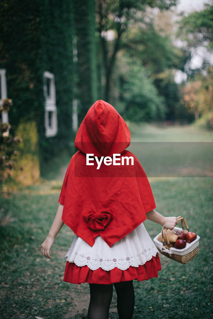 real people, child, one person, red, focus on foreground, women, lifestyles, childhood, girls, clothing, standing, land, leisure activity, day, three quarter length, plant, rear view, field, tree, outdoors, hood - clothing, warm clothing, obscured face, innocence