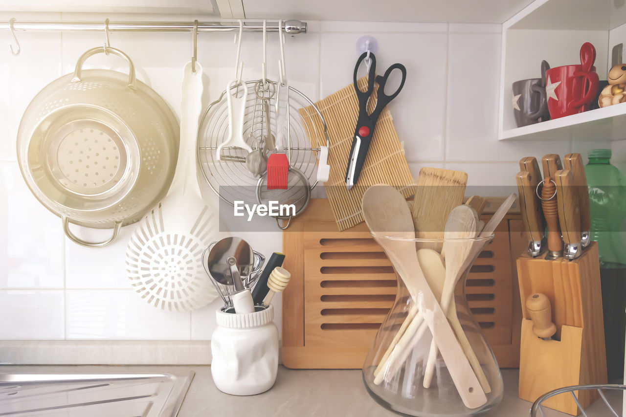 Kitchen utensils on table at home