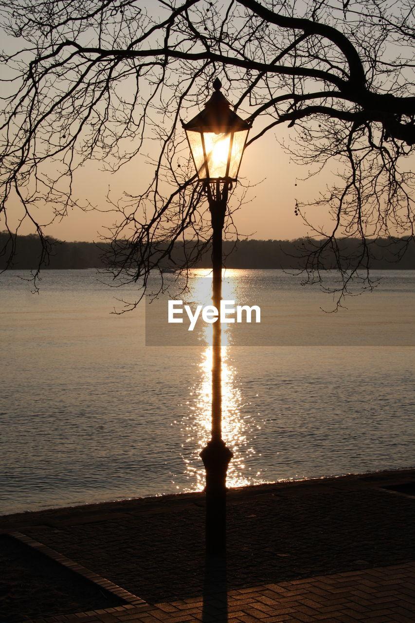 water, sunset, sky, tree, scenics - nature, beauty in nature, tranquil scene, tranquility, nature, silhouette, bare tree, sun, sea, no people, idyllic, outdoors, plant, reflection