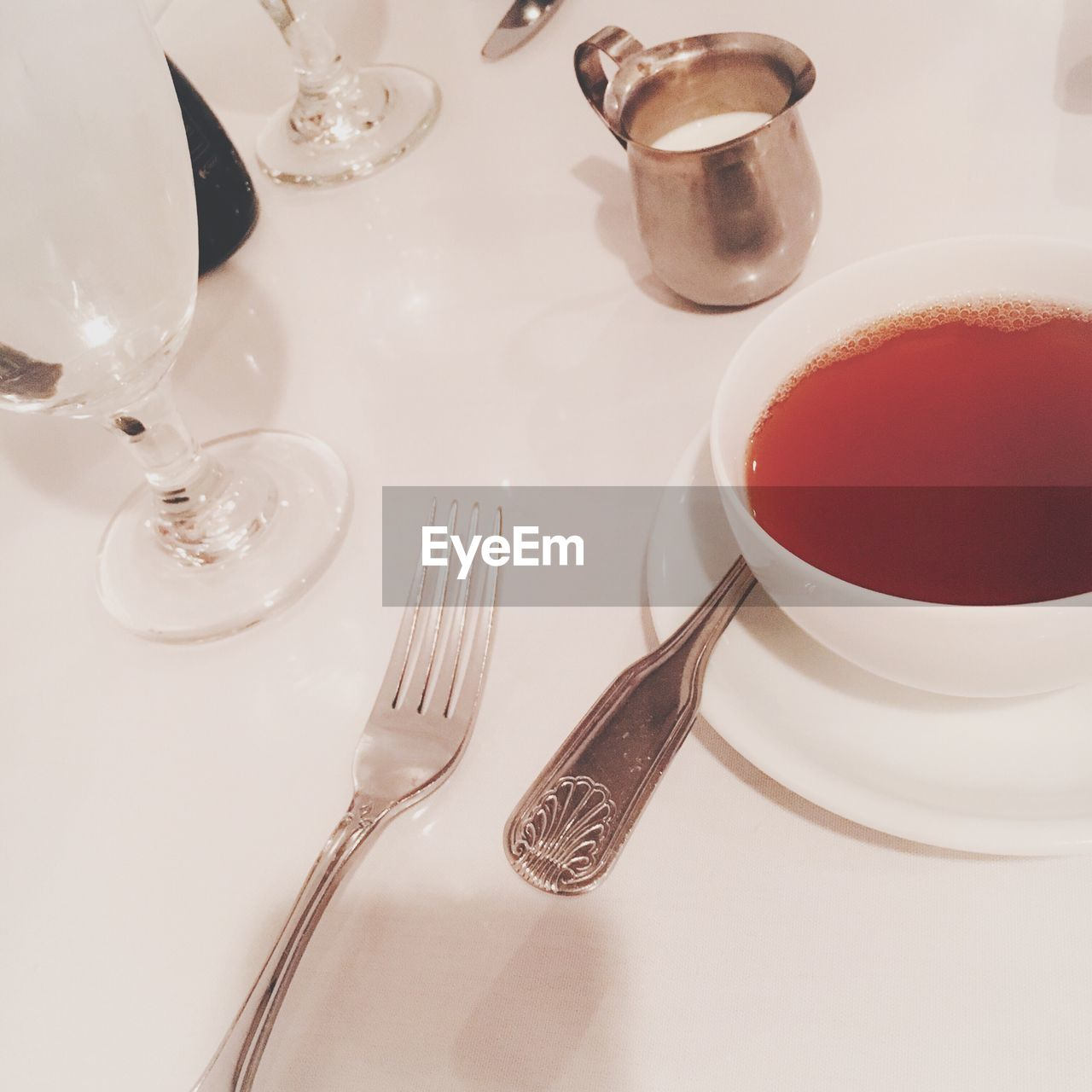 fork, table, plate, food and drink, still life, no people, refreshment, high angle view, drink, indoors, close-up, food, freshness, day