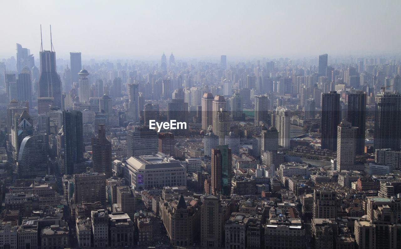 Smog over the skyline of shanghai, china