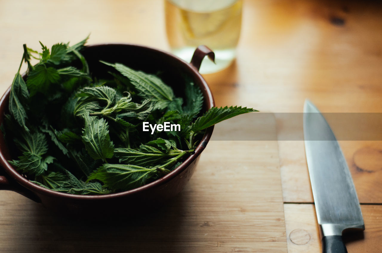 High Angle View Of Stinging Nettle Leaves In Container With Knife On Table