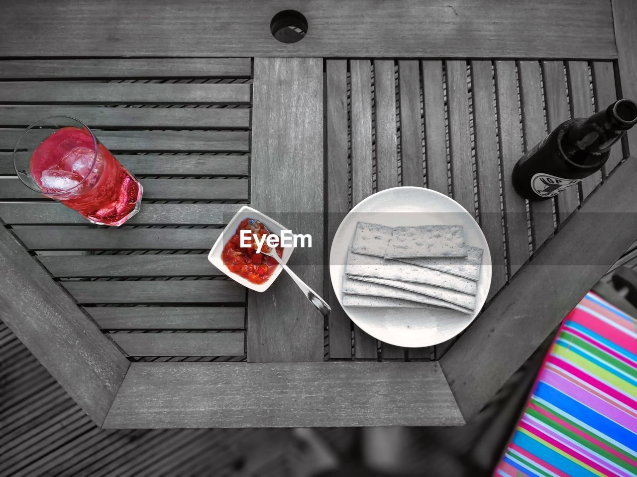 food and drink, wood - material, table, food, directly above, freshness, high angle view, red, healthy eating, wellbeing, no people, still life, day, indoors, close-up, refreshment, drink, bowl, plate, cup