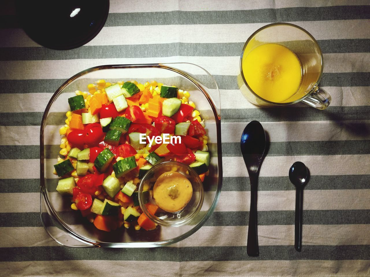 food and drink, freshness, healthy eating, indoors, food, still life, table, bowl, high angle view, ready-to-eat, vegetable, no people, drink, fruit, orange juice, close-up, day