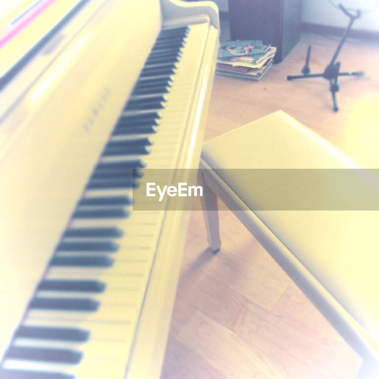 indoors, piano, high angle view, piano key, no people, close-up, musical instrument, technology, keyboard, day